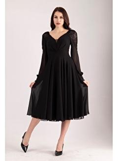 Belamore  Siyah Uzun Kol Omuzları Güpür Detaylı Şifon Abiye&Mezuniyet Elbisesi 130164.01